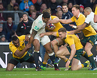Twickenham, United Kingdom. Nathan HUGHES commands a lot of attention from the Ozzie players, during the Old Mutual Wealth Series Rest Match: England vs Australia, at the RFU Stadium, Twickenham, England, <br /> <br /> Saturday  03/12/2016<br /> <br /> [Mandatory Credit; Peter Spurrier/Intersport-images]