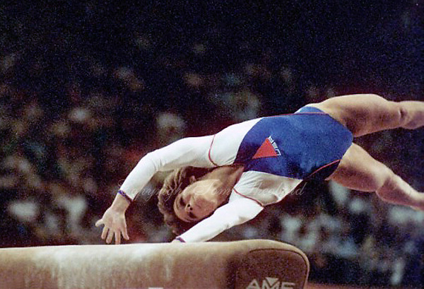 May 15, 1983; Los Angeles, California, USA; Artistic gymnast Mary Lou Retton of USA springs to vault at USA vs USSR dual meet at Los Angeles.  Copyright 1983 Tom Theobald.