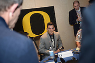 New York, NY - December 13, 2014: Hawaiian born Marcus Mariota, representing the Univeristy of Oregon, speaks speaks with members of the news media at the New York Marriott Marquis before the Heisman Trophy announcement. Mariota held a passing efficiency of 186.3, completing 254 of his 372 passes for 3,783 yards and 38 touchdowns.  (Photo by Don Baxter/Media Images International)
