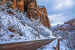 Winter Snow On The Mountainous Landscape Around The Main Road Through Zion National Park, Utah, USA