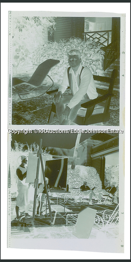 BNPS.co.uk (01202 558833)<br /> Pic: RR/EddieJohnsonEstate/BNPS<br /> <br /> Tha sale includes the negatives.<br /> <br /> Candid never before seen photos of President Kennedy on a 'working holiday' less than a year before he was assassinated have come to light.<br /> <br /> The fascinating snaps show John F Kennedy at work and relaxing at his idyllic Palm Beach residence, his 'Winter White House', in December 1962 and January 1963.<br /> <br /> He can be seen reading documents while sat on his patio, chatting with one of his advisers and taking a break from official business to soak up the sun in his garden.<br /> <br /> While this was going on, Kennedy was having his portrait drawn by celebrated artist of the age Elaine de Kooning.