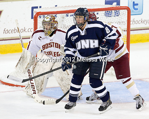 Corinne Boyles (BC - 29), Arielle O'Neill (UNH - 8) - The Boston College Eagles defeated the visiting University of New Hampshire Wildcats 5-2 on Sunday, October 21, 2012, at Kelley Rink in Conte Forum in Chestnut Hill, Massachusetts.