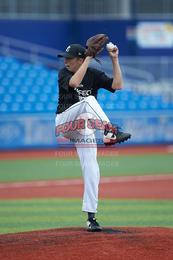 Zachary Steagall (7) of West Brunswick High School in Sunset Beach, NC during the Atlantic Coast Prospect Showcase hosted by Perfect Game at Truist Point on August 23, 2020 in High Point, NC. (Brian Westerholt/Four Seam Images)