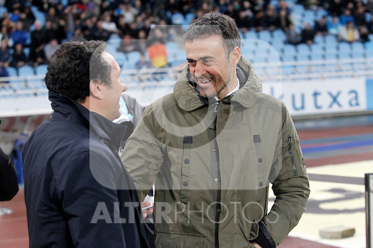 Real Sociedad's coach Eusebio Sacristan (l) and FC Barcelona's coach Luis Enrique Martinez during La Liga match. April 9,2016. (ALTERPHOTOS/Acero)