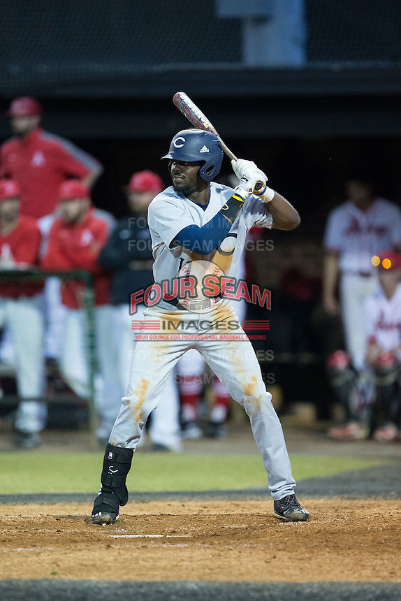 Malachi Hanes (11) of the Catawba Indians at bat against the Belmont Abbey Crusaders at Abbey Yard on February 7, 2017 in Belmont, North Carolina.  The Crusaders defeated the Indians 12-9.  (Brian Westerholt/Four Seam Images)