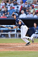 Asheville Tourists second baseman Max George (3) swings at a pitch during a game against the Greenville Drive at McCormick Field on April 15, 2017 in Asheville, North Carolina. The Tourists defeated the Drive 5-4. (Tony Farlow/Four Seam Images)