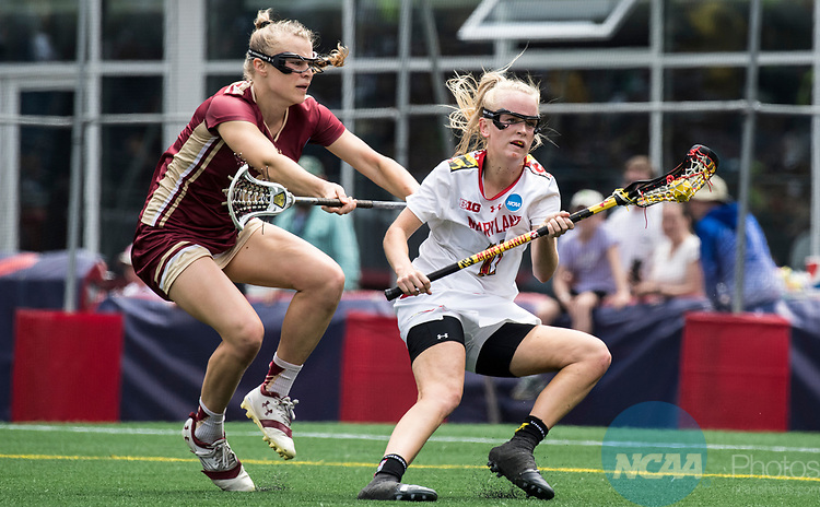 FOXBORO, MA - MAY 28: Caroline Steele #11 of the Maryland Terrapins with the ball during the Division I Women's Lacrosse Championship held at Gillette Stadium on May 28, 2017 in Foxboro, Massachusetts. <br /> (Photo by Ben Solomon/NCAA Photos via Getty Images)