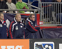 New England Revolution head coach Steve Nicol scowls after red card. In a Major League Soccer (MLS) match, Real Salt Lake defeated the New England Revolution, 2-0, at Gillette Stadium on April 9, 2011.