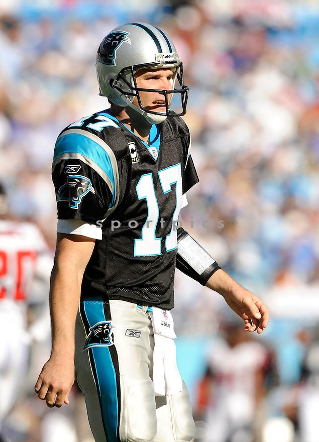 JAKE DELHOMME, of the Carolina Panthers, in action during the Panthers game against the Atlanta Falcons on November 15, 2009 in Charlotte, NC. Panthers won 28-19.