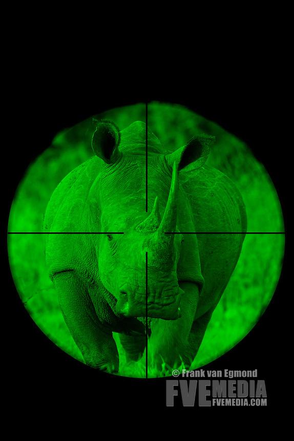 White Rhinoceros seen through a hunting rifle sight (illustation).