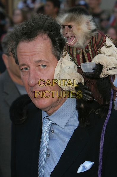 "GEOFFREY RUSH.""Pirates Of The Caribbean: At World's End"" World Premiere held at Disneyland, Anaheim, California, USA,.19 May 2007..portrait headshot monkey animal on shoulder.CAP/ADM/CH.©Charles Harris/AdMedia/Capital Pictures."