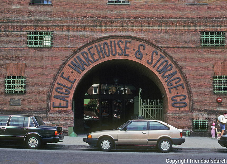 New York: Brooklyn--Eagle Warehouse & Storage, 28 Old Fulton St., 1892. Condominium Alteration, 1980. Bernard Roth Zeid. Photo '91.
