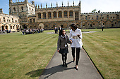 First Lady Michelle Obama talks with a student from Elizabeth Garrett Anderson School during a visit to Christ Church College, Oxford University, in Oxford, England, May 25, 2011..Mandatory Credit: Lawrence Jackson - White House via CNP