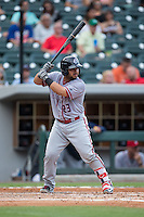 Jhonatan Solano (23) of the Syracuse Chiefs at bat against the Charlotte Knights at BB&T BallPark on June 1, 2016 in Charlotte, North Carolina.  The Knights defeated the Chiefs 5-3.  (Brian Westerholt/Four Seam Images)