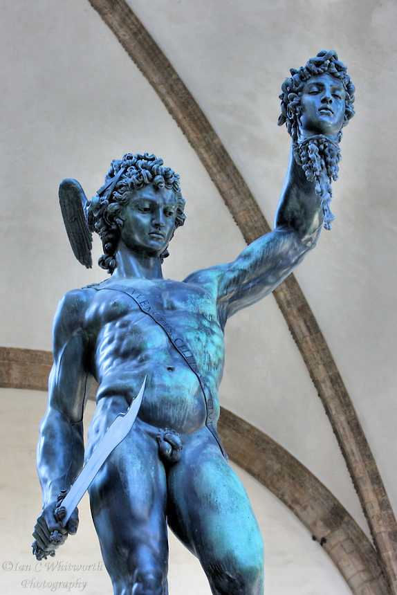 Perseus with the Head of Medusa in the Loggia dei Lanzi gallery on the edge of the Piazza della Signoria in Florence