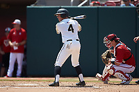 Drake Titus (4) of the Army Black Knights at bat against the North Carolina State Wolfpack at Doak Field at Dail Park on June 3, 2018 in Raleigh, North Carolina. The Wolfpack defeated the Black Knights 11-1. (Brian Westerholt/Four Seam Images)