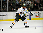 14 November 2008: University of Vermont Catamount defenseman Josh Burrows, a Sophomore from Prairie Grove, IL, in action against the Northeastern University Huskies at Gutterson Fieldhouse in Burlington, Vermont. The Catamounts fell to the Huskies 5-3...Mandatory Photo Credit: Ed Wolfstein Photo