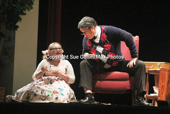 """Meredith Taylor on stage with Michael O'Leary - Guiding Light's Michael O'Leary author of """"Breathing Under Dirt"""" - full play - had its world premier on August 13 and 14, 2016 at the Ella Fitzgerald Performing Arts Center, University of Maryland Eastern Shore, Princess Anne, Maryland  (Photo by Sue Coflin/Max Photos)"""