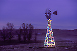 Aermotor windmill on wooden tower, Christmas Lights, rural Sacramento County, Calif.