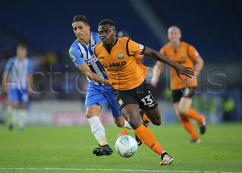 22nd August 2017, The Amex Stadium, Brighton, England; Football League Cup Second Round; Brighton and Hove Albion versus Barnet; David Tutonda of Barnet defends against Anthony Knockaert of Brighton