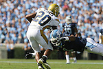 08 November 2008: Georgia Tech's Roddy Jones (20) is tackled by North Carolina's Brooks Foster (1). The University of North Carolina Tarheels defeated the Georgia Tech University Yellow Jackets 28-7 at Kenan Stadium in Chapel Hill, NC in an NCAA Division I and Atlantic Coast Conference football game.