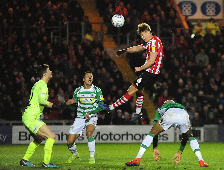 Lincoln City's Mark O'Hara scores the opening goal<br /> <br /> Photographer Andrew Vaughan/CameraSport<br /> <br /> The EFL Sky Bet League Two - Lincoln City v Yeovil Town - Friday 8th March 2019 - Sincil Bank - Lincoln<br /> <br /> World Copyright © 2019 CameraSport. All rights reserved. 43 Linden Ave. Countesthorpe. Leicester. England. LE8 5PG - Tel: +44 (0) 116 277 4147 - admin@camerasport.com - www.camerasport.com