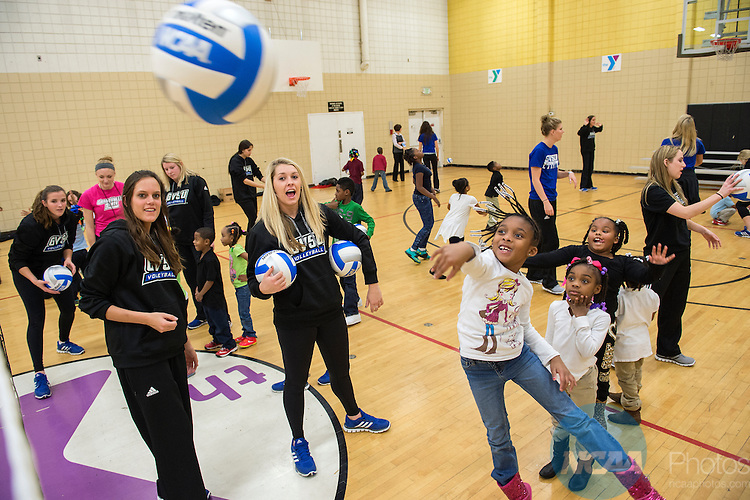 3 DEC 2014: The Grand Valley State women's volleyball team visits the Downtown Family YMCA during the 2014 Division II Sports Festival held in Louisville, KT. Justin Tafoya/NCAA Photos