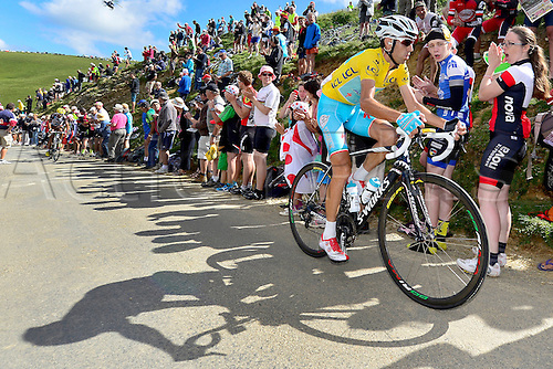 22.07.2014. Carcassonne to Bagnères-de-Luchon, France. Tour de France cycling championship, stage 16.   NIBALI Vincenzo (ITA - Astana Pro team) ascends the Port de Bales