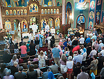 Hierarchical Divine Liturgy, Dormition of the Theotokos Serbian Orthodox Church, Fair Oaks, California conducted by His Grace Bishop Maxim, and Bishop Jutin of Zica, Fr. Stimata (Iconographer) from Athens, Abbot Theodosios, Decani Monastery in Kosovo, Fr. William and Fr. Dane and Deacon Dragan, during the Feast of The Assumption of Theotokos, August 30, 2015.