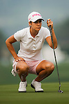 TAOYUAN, TAIWAN - OCTOBER 27:  Azahara Munoz of Spain lines up a putt  on the 17th green during the day three of the Sunrise LPGA Taiwan Championship at the Sunrise Golf Course on October 27, 2012 in Taoyuan, Taiwan.  Photo by Victor Fraile / The Power of Sport Images