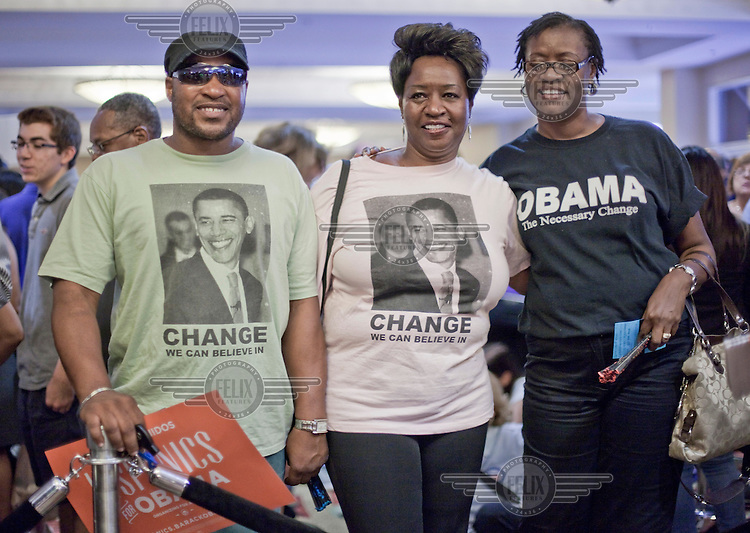 Three supporters of President Obama at a campaign rally in Orlando, Florida where former President Bill Clinton made a speech. Benny Beckham (left) is a construction worker, Barbara Kendricks (centre) is a retired nurse.  They said: 'Obama'll win because he has a plan that works. Jobs, medicine, housing. He walked into a tornado in 2008. It was a real mess that he walked into. The Republicans paint a bad picture. They try to make it seem like Obama hasn't done anything but he has: housing, jobs, medicine, women's rights. It takes more than four years to fix something that was messed up for eight. The Democrats represent a great diversity of people all coming together.' On foreign policy they stated: 'Obama has a lot of interest in people, in their well-being. He has respect for other countries, other cultures.' They added: 'Every time Obama tries to do something, the Republicans stopped it so that he could be said to be not doing anything. Yes, people lost their jobs, lost their homes, but it will eventually be OK.' The US Presidential election will be held on 6 November, 2012.