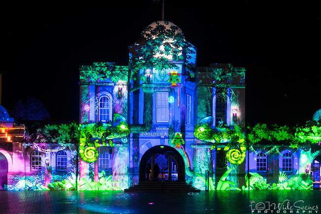 The entrance to Taronga Zoo during the 2016 Vivid Light Festival