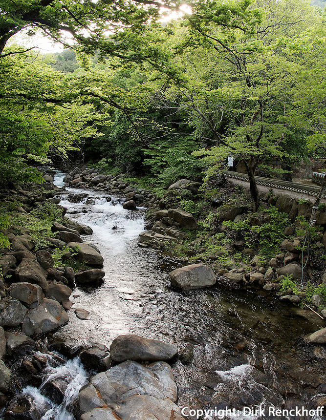 Bach beim Hwaeomsa Tempel in Jirisan Nationalpark, Provinz Jeollanam-do, S&uuml;dkorea, Asien<br /> creek at buddhist Hwaeomsa temple in Jirisan national park, province Jeollanam-do, South Korea, Asia