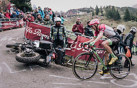 Michael Woods (CAN/EducationFirst-Drapac) avoiding a crashed moto up the infamous Monte Zoncolan (1735m/11%/10km)<br /> <br /> stage 14 San Vito al Tagliamento &ndash; Monte Zoncolan (186 km)<br /> 101th Giro d'Italia 2018