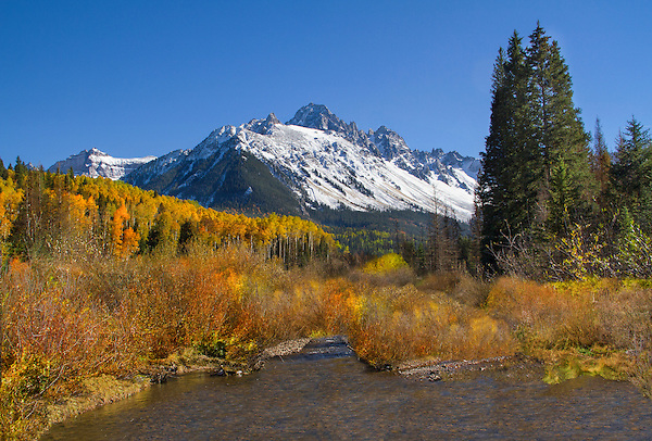Mount Sneffels and stream in autumn, Telluride, Colorado John offers autumn photo tours throughout Colorado.