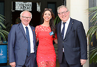 20170604 – OOSTENDE , BELGIUM :  Luc Calleuw and Tina Titeca pictured with Francois De Keersmaecker during the 3nd edition of the Sparkle award ceremony , Sunday 4 June 2017 , in Oostende . The Sparkle  is an award for the best female soccer player in the Belgian Superleague and 1st division during the season 2016-2017 comparable to the Golden Shoe or Boot / Gouden Schoen / Soulier D'or for Men in Belgium . PHOTO SPORTPIX.BE | DAVID CATRY