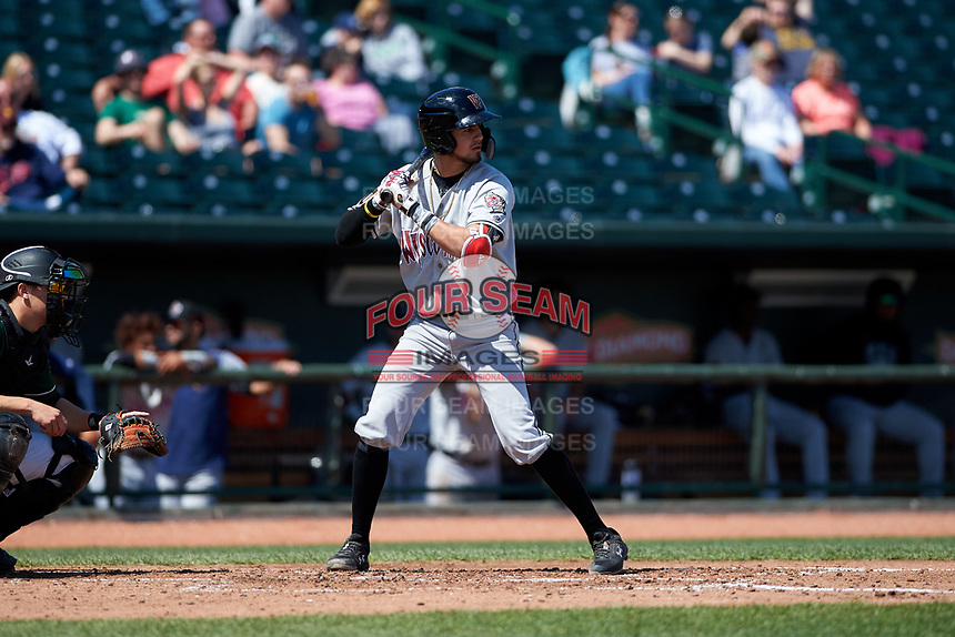 Wisconsin Timber Rattlers Antonio Pinero (3) at bat during a Midwest League game against the Great Lakes Loons at Dow Diamond on May 4, 2019 in Midland, Michigan. Great Lakes defeated Wisconsin 5-1. (Zachary Lucy/Four Seam Images)