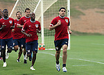 Claudio Reyna (r) leads (from right) DaMarcus Beasley, Carlos Bocanegra, Pablo Mastroeni, and Eddie Johnson during a timed run on Thursday, May 11th, 2006 at SAS Soccer Park in Cary, North Carolina. The United States Men's National Soccer Team held a training session as part of their preparations for the upcoming 2006 FIFA World Cup Finals being held in Germany.