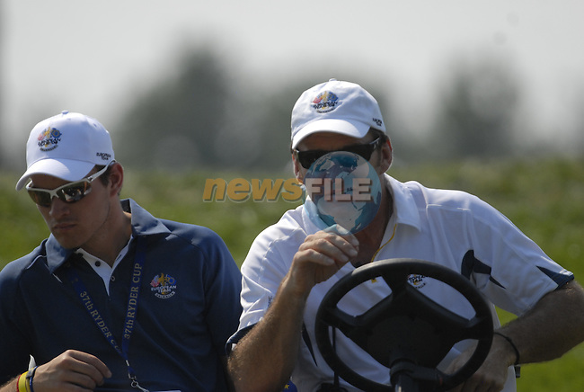 European Team Captain Nick Faldo with his son drives down the 1st hole during the Singles on the Final Day of the Ryder Cup at Valhalla Golf Club, Louisville, Kentucky, USA, 21st September 2008 (Photo by Eoin Clarke/GOLFFILE)
