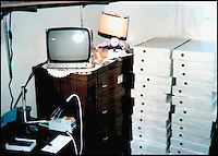 BNPS.co.uk (01202 558833)<br /> Pic: ATBreker/BNPS<br /> <br /> Humble beginnings of a billion pound business... <br /> <br /> This never-seen-before photograph showing electronics giant Apple's very first computers stacked in boxes in Steve Jobs' bedroom from the very earliest days of the worlds most iconic brand.<br /> <br /> The grainy snap was taken in 1976 when Jobs, then 21, and friend Steve Wozniak built 50 basic computers in Jobs' parents' house.<br /> <br /> The image shows two stacks of boxes containing the fledgling company's first 50 devices piled high in front of some windows.<br /> <br /> Among the boxes is the item for sale - the 46th ever built and one of just a handful of Apple 1s in existence.<br /> <br /> The fascinating photo, thought to have been taken by Jobs himself, emerged as the &quot;world's best&quot; Apple 1 was put up for sale for &pound;500,000.