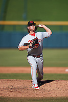 Scottsdale Scorpions Jeff Singer (11), of the Philadelphia Phillies organization, during a game against the Mesa Solar Sox on October 18, 2016 at Sloan Park in Mesa, Arizona.  Mesa defeated Scottsdale 6-3.  (Mike Janes/Four Seam Images)