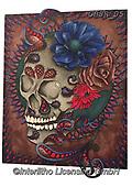 Sandra, STILL LIFE STILLEBEN, NATURALEZA MORTA, paintings+++++gothic skull with border,GBSR05,#I#, EVERYDAY