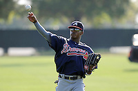Outfielder Mallex Smith (59) of the Atlanta Braves farm system warms up before a Minor League Spring Training intrasquad game on Wednesday, March 18, 2015, at the ESPN Wide World of Sports Complex in Lake Buena Vista, Florida. (Tom Priddy/Four Seam Images)