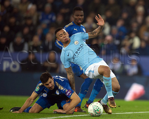 19th December 2017, King Power Stadium, Leicester, England; Carabao Cup quarter-final, Leicester City versus Manchester City; Aleksandar Dragovic of Leicester City brings down Gabriel Jesus of Manchester City on the edge of the area referee Robert Madley says no foul