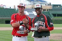 August 17 2008:  MVP David Renfroe and Mychal Givens during the 2008 Under Armour All-American Game at Wrigley Field in Chicago, IL.  Photo by:  Mike Janes/Four Seam Images