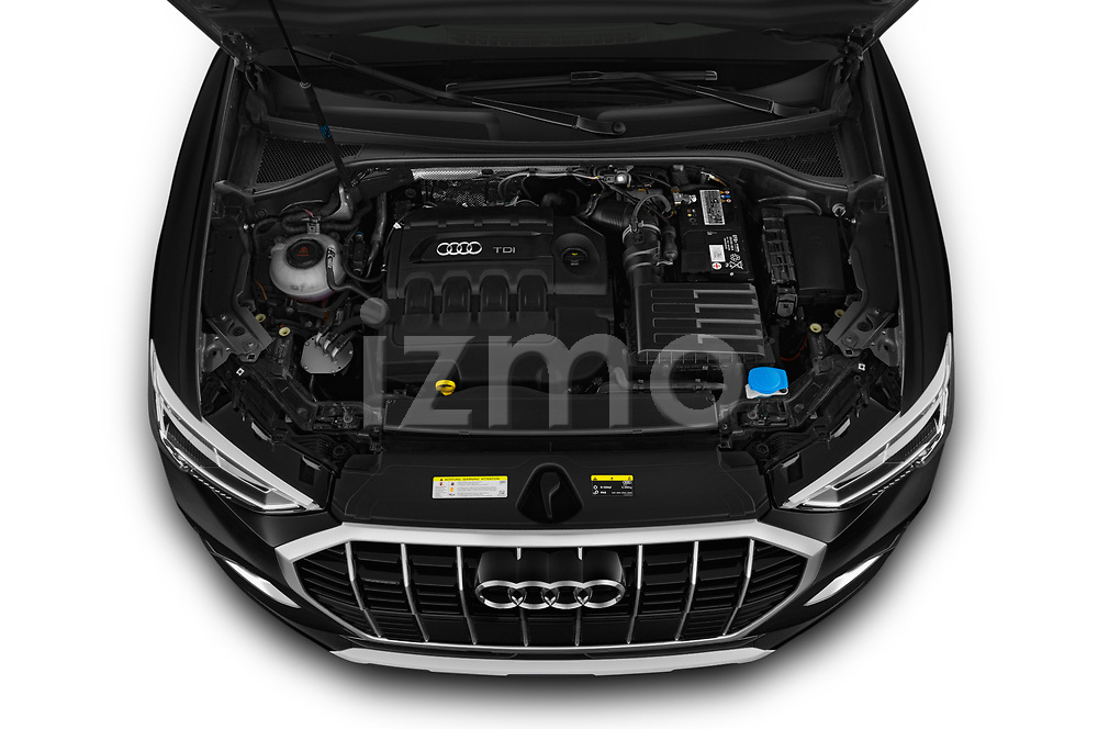 Car Stock 2019 Audi Q3 Advanced 5 Door SUV Engine  high angle detail view