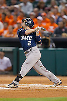 Shane Hoelscher #2 of the Rice Owls follows through on his swing against the Texas Longhorns at Minute Maid Park on February 28, 2014 in Houston, Texas.  The Longhorns defeated the Owls 2-0.  (Brian Westerholt/Four Seam Images)