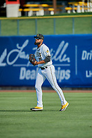 Jo Adell (26) of the Salt Lake Bees on defense against the New Orleans Baby Cakes at Smith's Ballpark on August 4, 2019 in Salt Lake City, Utah. The Baby Cakes defeated the Bees 8-2. (Stephen Smith/Four Seam Images)