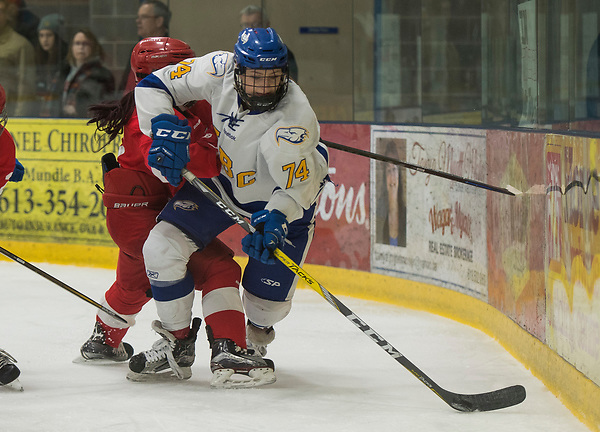 NAPANEE,ON:MARCH 18, 2017 -- UBC Thunderbirds v McGill University during the semi-finals at the 2017 U Sports National Women's Hockey Championships at Strathcona Paper Centre in Napanee, ON, March, 18, 2017. (Rich Lam/UBC Athletics Photo)