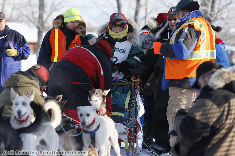 Saturday February 25, 2012   at Knik Lake during the Junior Iditarod start.  Abigail Brooks.